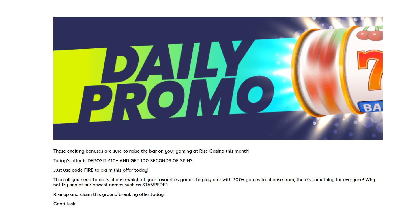 Rise Casino Deposit Bonus