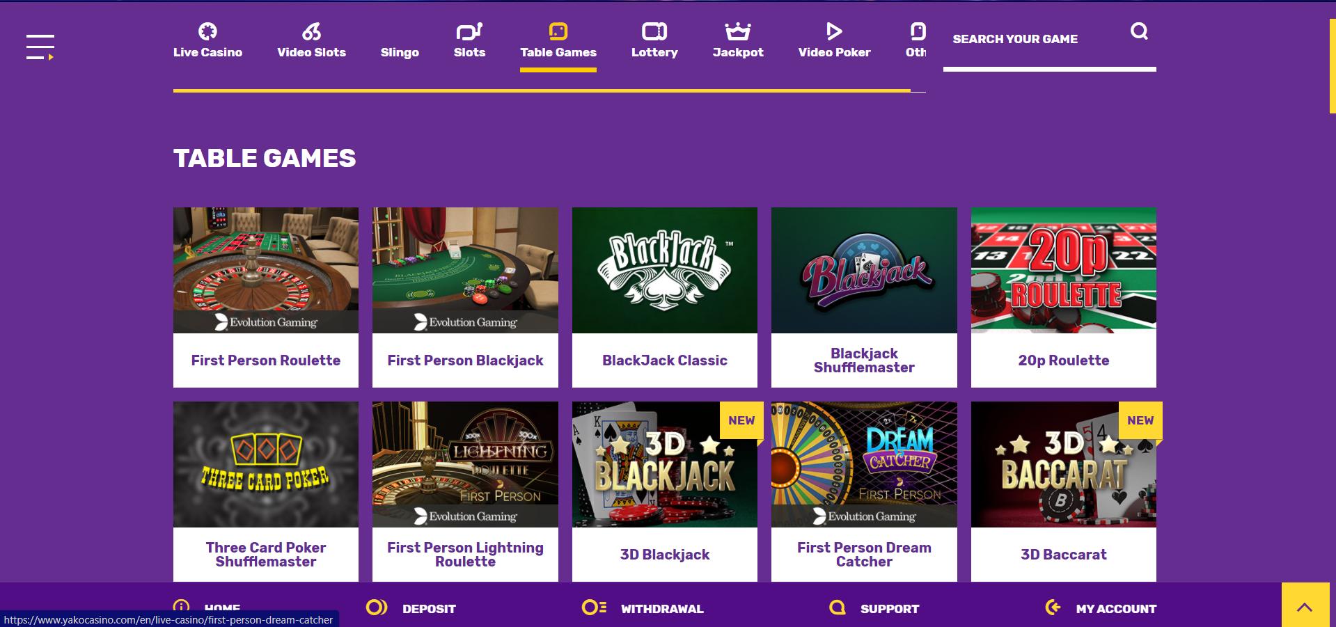 yako casino games