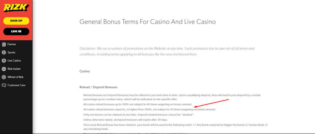 wagering tc`s casino rizk